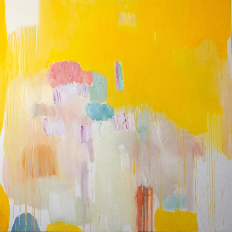Natalia Roman Landscape Painting - Four Seasons in Bloom, Large Square Abstract Floral Oil Painting, Yellow & Pink