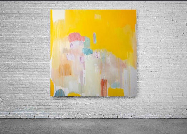 Four Seasons in Bloom, Large Square Abstract Floral Oil Painting, Yellow & Pink - Beige Landscape Painting by Natalia Roman