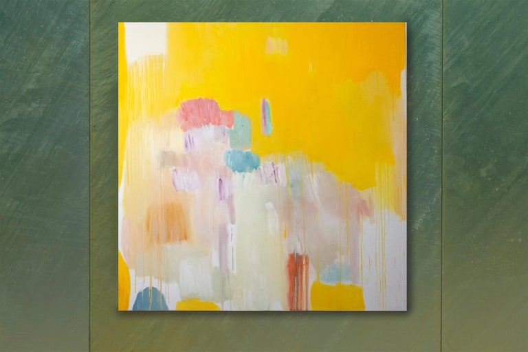 Four Seasons in Bloom, Large Square Abstract Floral Oil Painting, Yellow & Pink For Sale 1