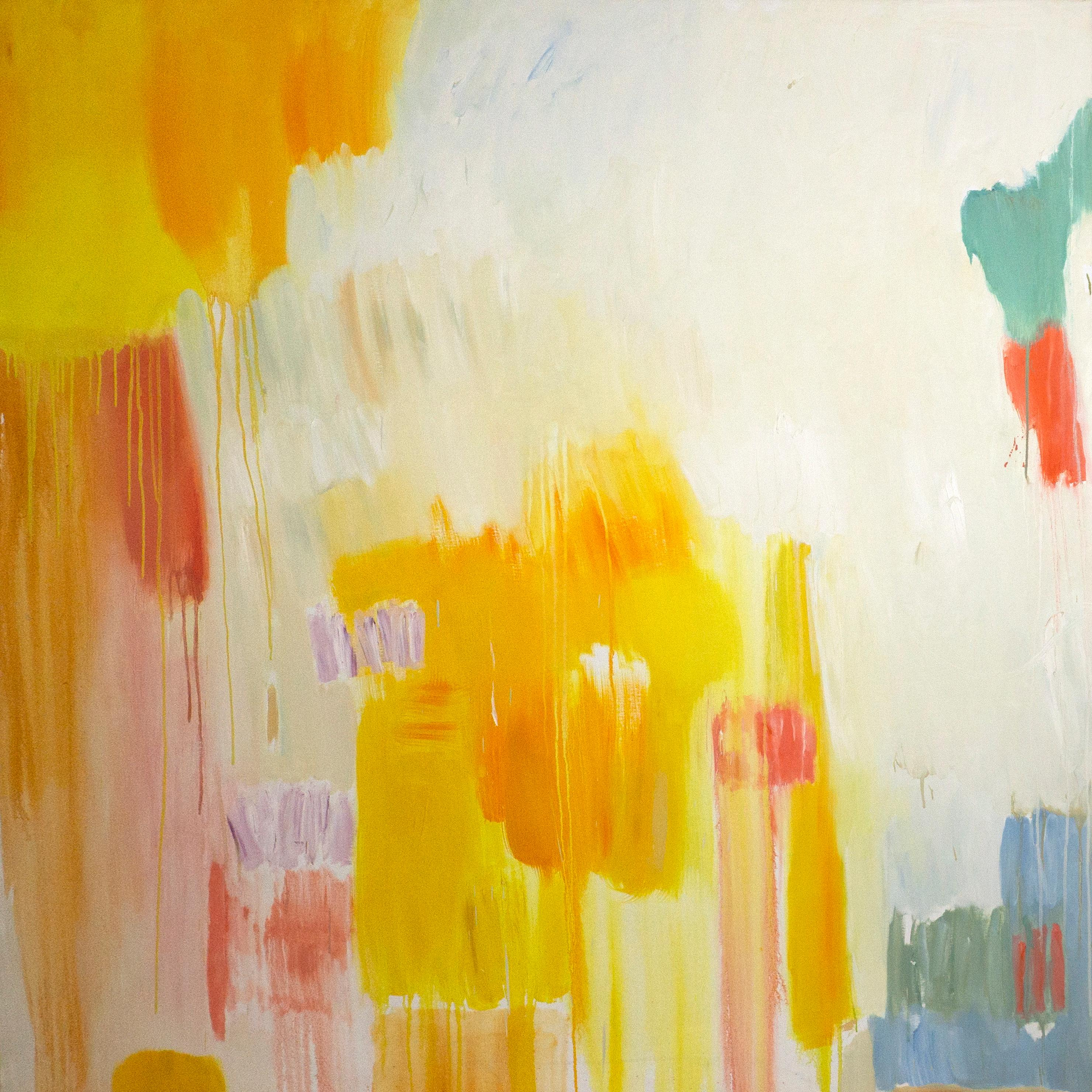 Abstract Melting Sunset, Warm Tones Oil Painting on Canvas, Vibrant Yellow & Red