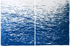 Abstract Large Seascape Diptych of Low Tide, Nautical Cyanotype, Classic Blue