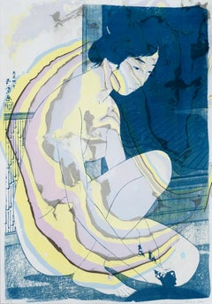 Hashiguchi Goyo Inspired Japanese Cyanotype with Yellow & Purple Marbling, Sumi