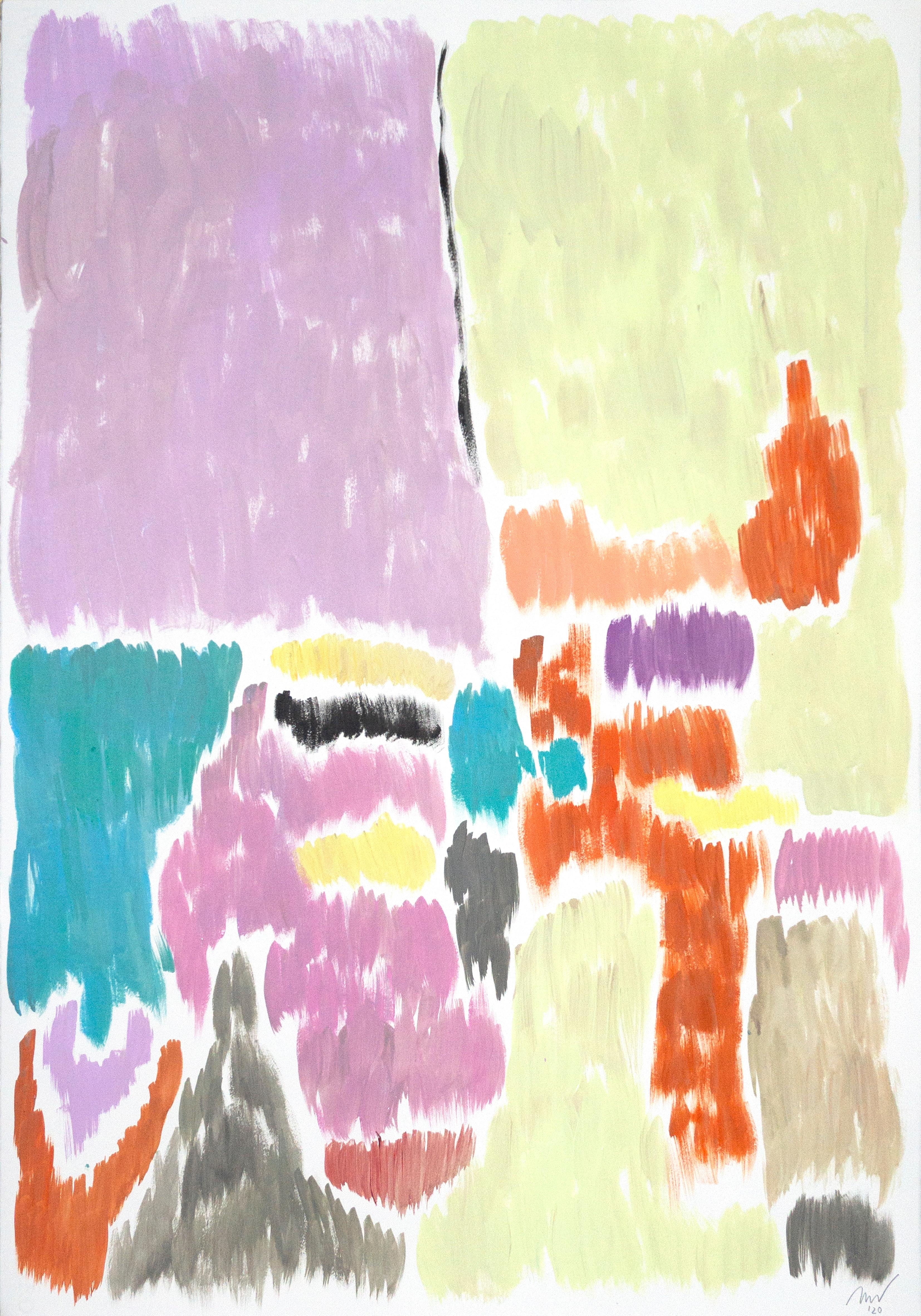 Pistachio and Mauve Blurry Interiors, Art Deco Painting, Abstract Pastel Tones