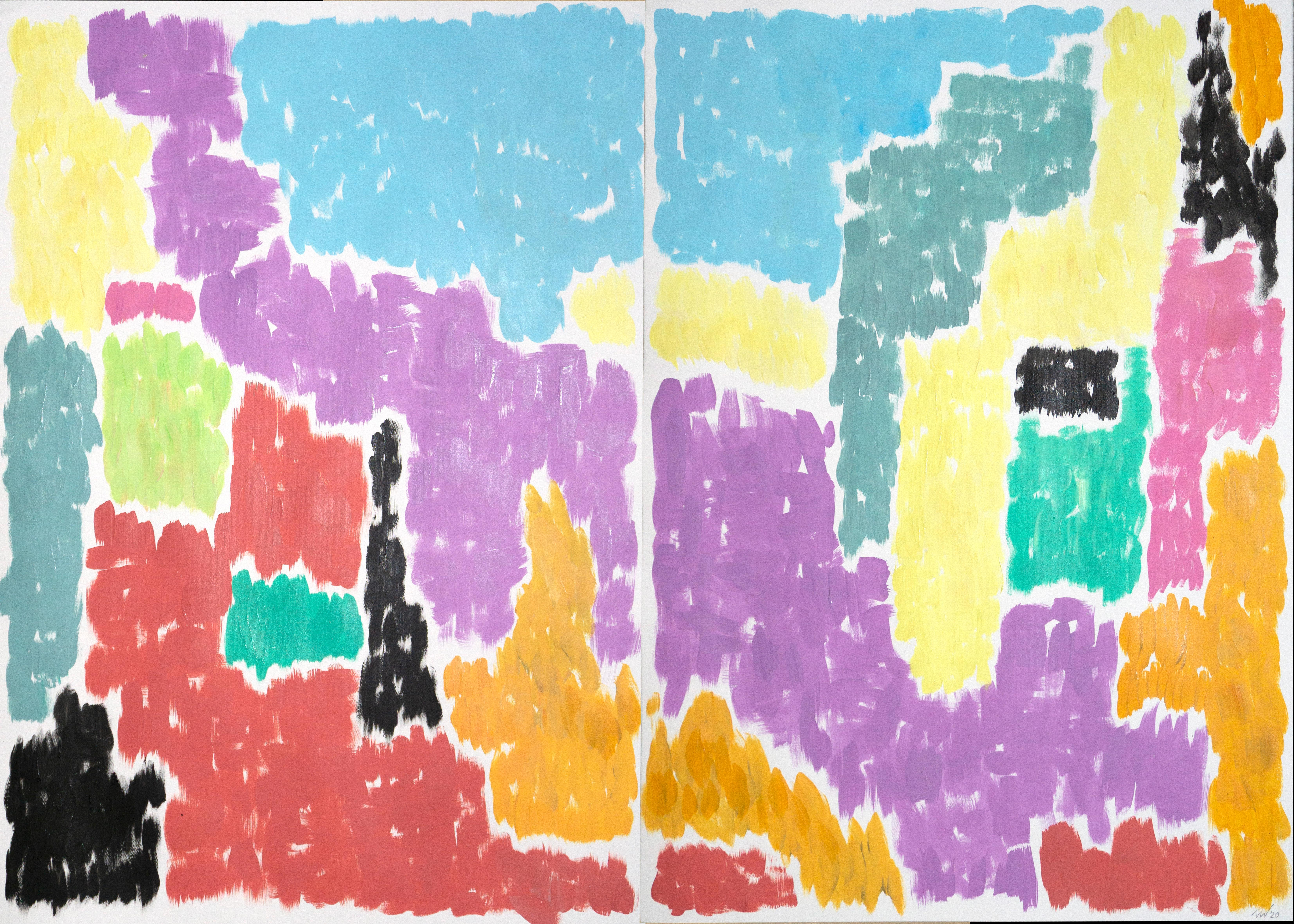 Leaving the City, Art Deco Painting of Abstract Vivid Shapes, Coral and Green