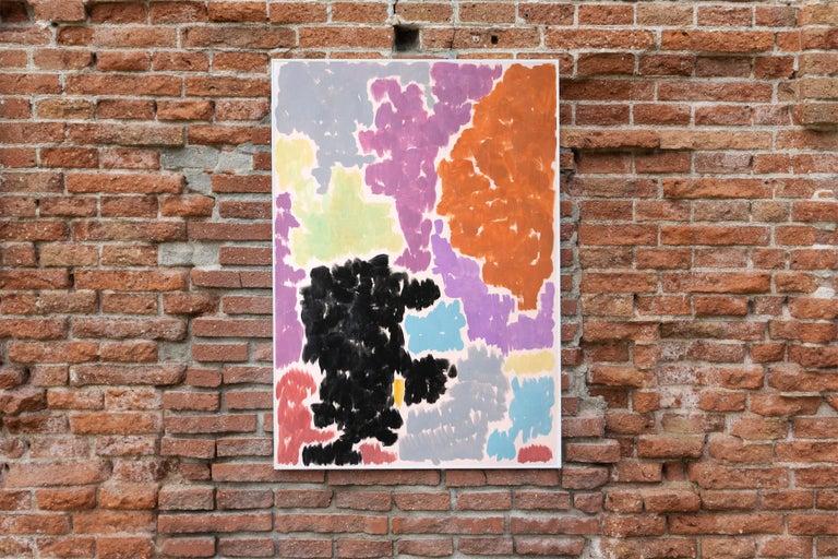 Purple Bougainvilleas, Art Deco Floral Painting in Purple Tones on Paper, 2020  For Sale 4