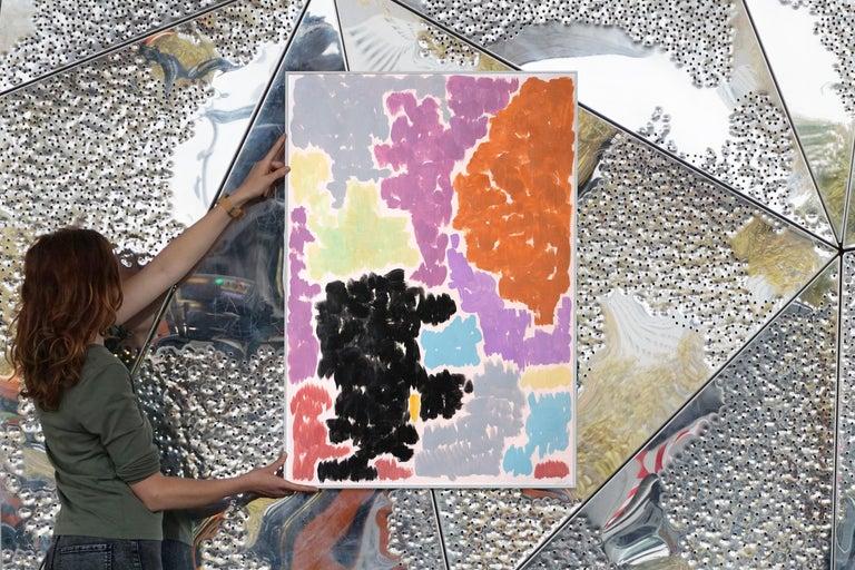 Purple Bougainvilleas, Art Deco Floral Painting in Purple Tones on Paper, 2020  For Sale 7