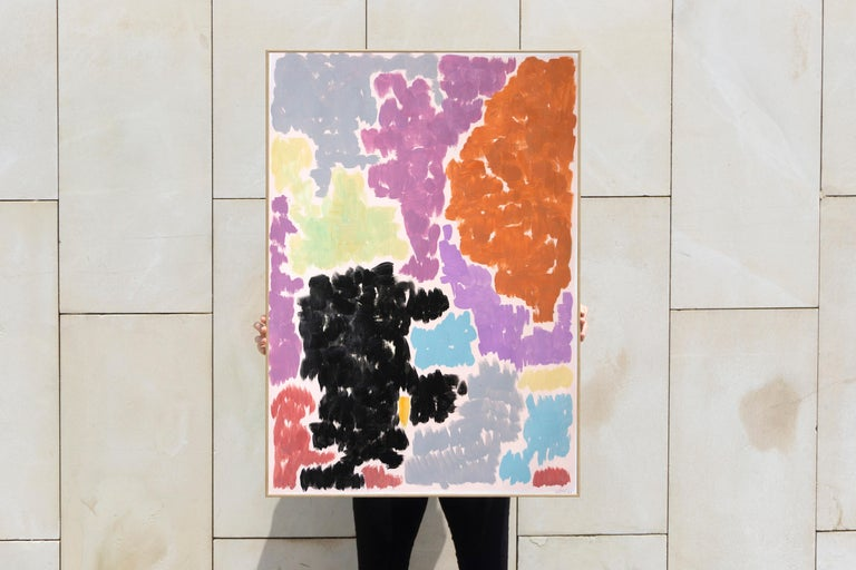 Purple Bougainvilleas, Art Deco Floral Painting in Purple Tones on Paper, 2020  For Sale 6
