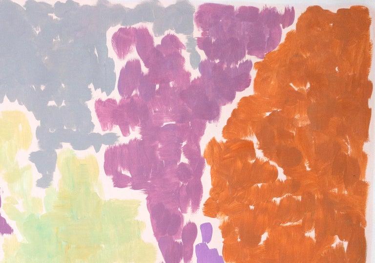 Purple Bougainvilleas, Art Deco Floral Painting in Purple Tones on Paper, 2020  For Sale 3