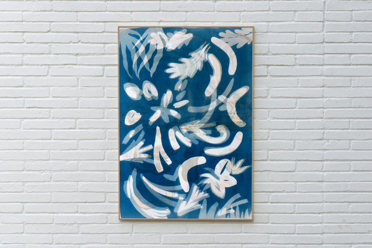 Botanical Cyanotype of Floating Floral Forms, Unique Monotype, Classy Marbling  - Art Deco Painting by Kind of Cyan