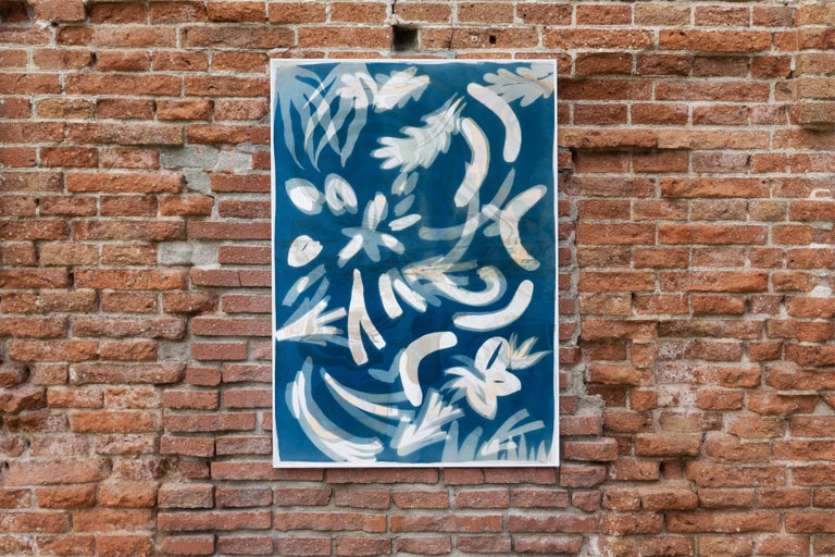 Botanical Cyanotype of Floating Floral Forms, Unique Monotype, Classy Marbling  - Painting by Kind of Cyan