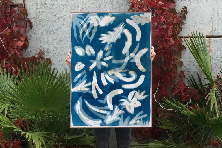 Botanical Cyanotype of Floating Floral Forms, Unique Monotype, Classy Marbling  For Sale 2