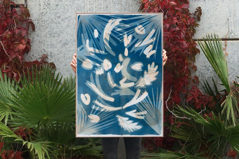 Tropical Leaves Cyanotype, Botanical Mixed Media, Marbling Layer, Blue, Beige For Sale 2