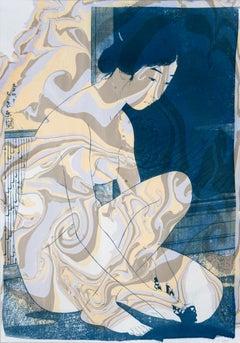 Hashiguchi Goyo Inspired Japanese Cyanotype Marbling in Subtle Tones, Ukiyo-e