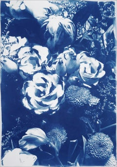 Botanical Cyanotype of Blue Flower Bouquet, Natural Roses on Watercolor Paper