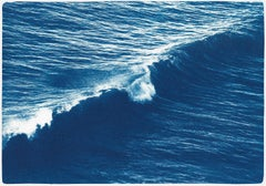 Long Wave in Venice Beach, Nautical Cyanotype, Seascape in Indigo, Coastal Blue