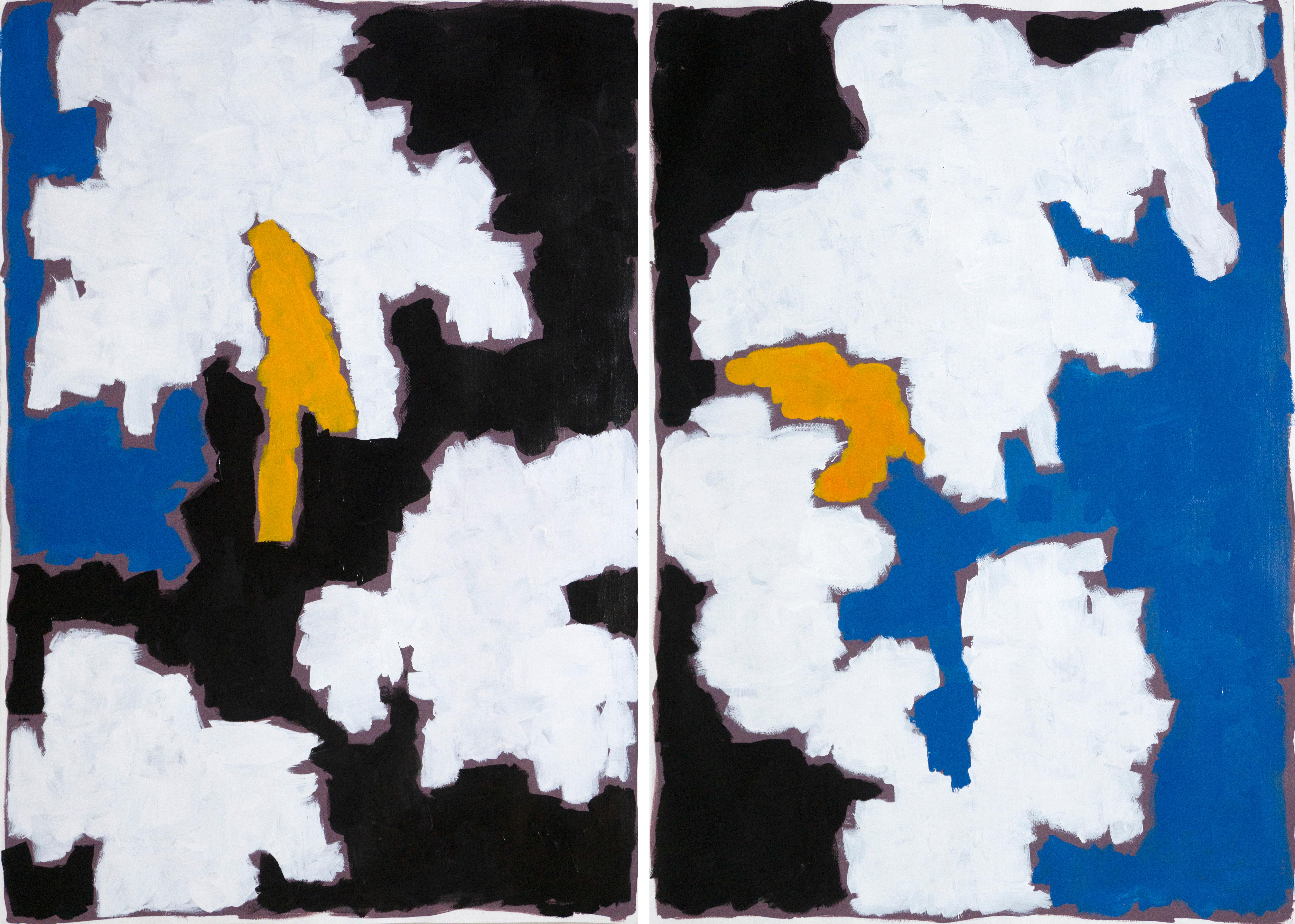 Color Field Diptych, Memories of Clifford Still, Abstract Painting, Black Tones