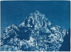 Yosemite Blue Mountain, Cyanotype on Watercolor Paper, Landscape in Indigo