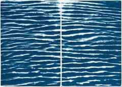 Tranquil Water Patterns, Contemporary Large Size Cyanotype on Watercolor Paper