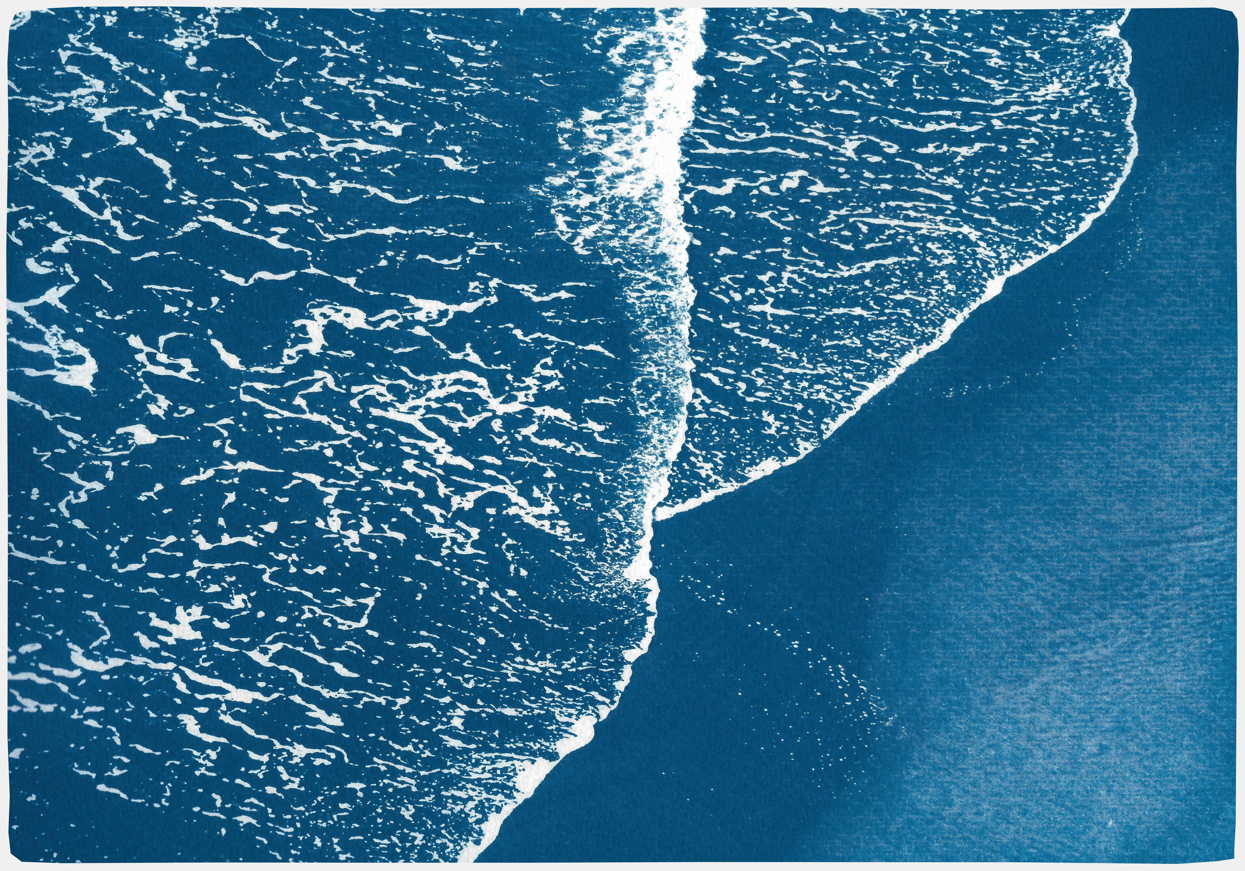 Pacific Foamy Shorelines, Original Cyanotype on Paper, Exquisite Blue and White