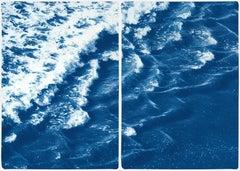 Rolling Waves off Sidney, Seascape Diptych Cyanotype, Australian Coast, Indigo