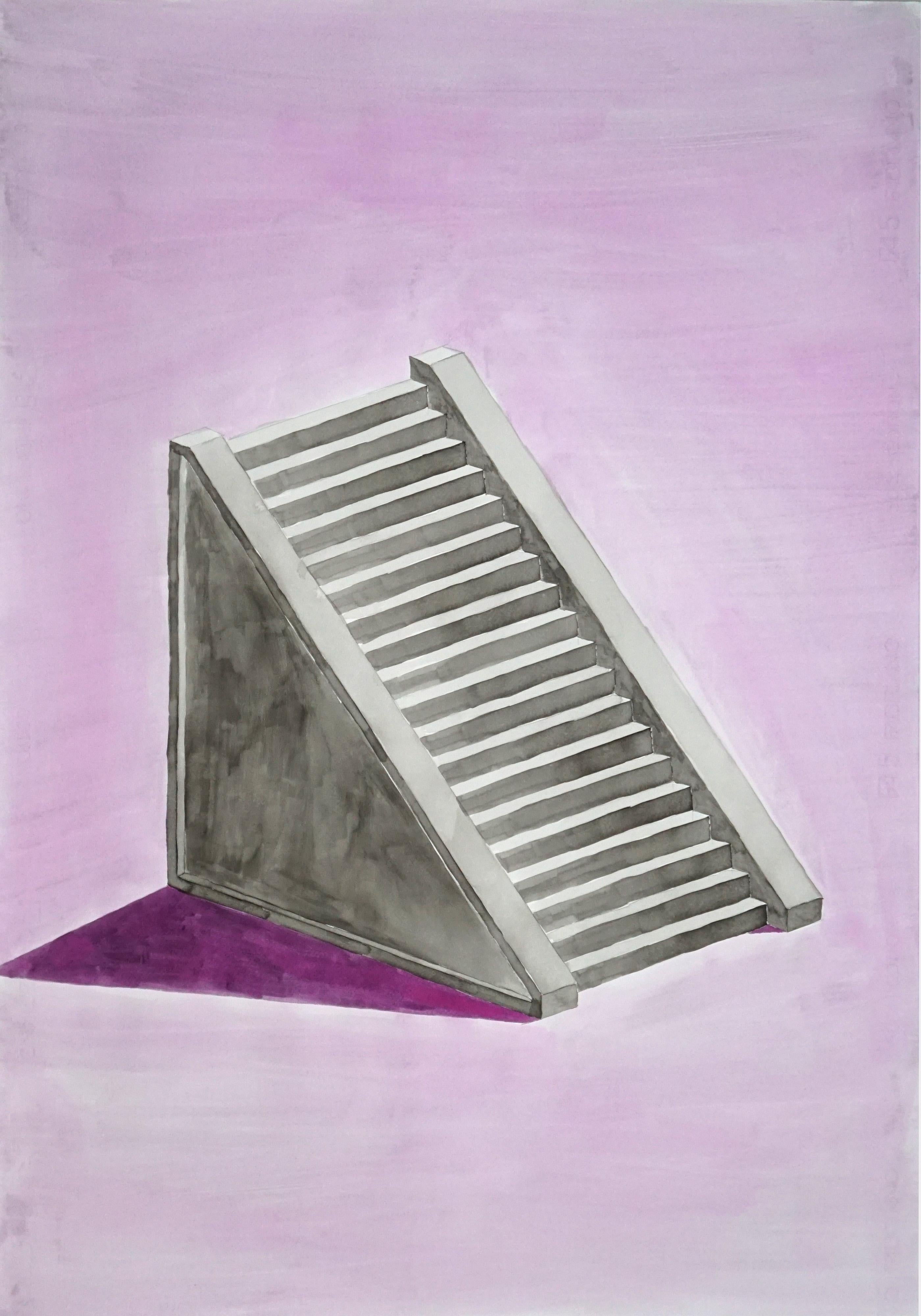 Lilac Mayan Staircase, Minimal Architecture Watercolor on Paper, Gray 100x70 cm