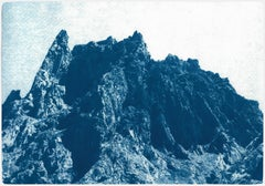 Rocky Desert Mountain in Blue, Detailed Cyanotype on Paper, Dreamlike Landscape