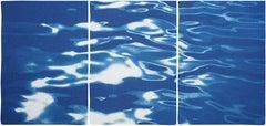 Lido Island Reflections, Venice Landscape Blue Tones, Minimal Cyanotype Print