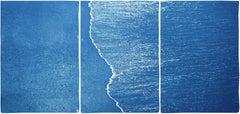 Blue Subtle Seascape of Calm Costa Roca Shore, Minimal Triptych Cyanotype