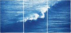 Colossal Seascape Triptych of Crashing Wave in Los Angeles, Exclusive Cyanotype