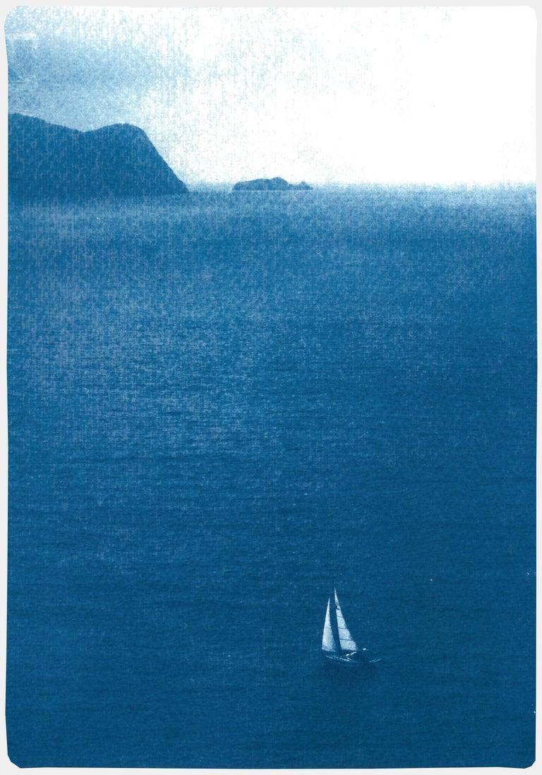 Kind of Cyan Landscape Print - Sailboat Journey, Nautical Cyanotype Print on Watercolor Paper, Indigo Seascape