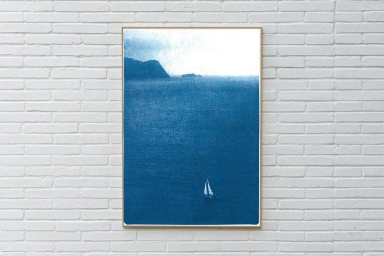 Sailboat Journey, Nautical Cyanotype Print on Watercolor Paper, Indigo Seascape - Blue Landscape Print by Kind of Cyan