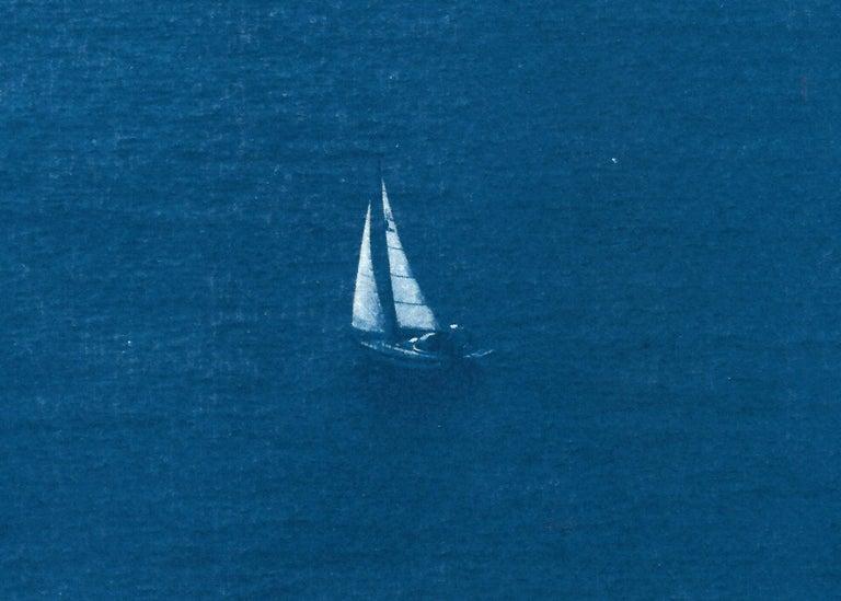 Sailboat Journey, Nautical Cyanotype Print on Watercolor Paper, Indigo Seascape 1