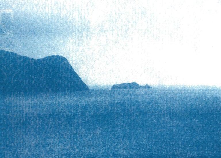 Sailboat Journey, Nautical Cyanotype Print on Watercolor Paper, Indigo Seascape 2