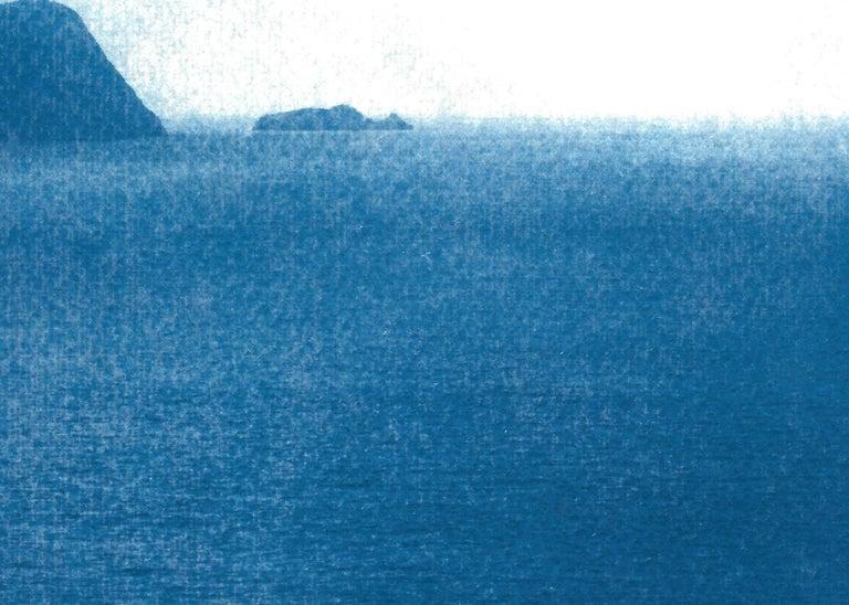 Sailboat Journey, Nautical Cyanotype Print on Watercolor Paper, Indigo Seascape 3
