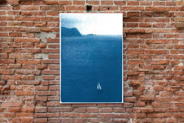 Sailboat Journey, Nautical Cyanotype Print on Watercolor Paper, Indigo Seascape 4