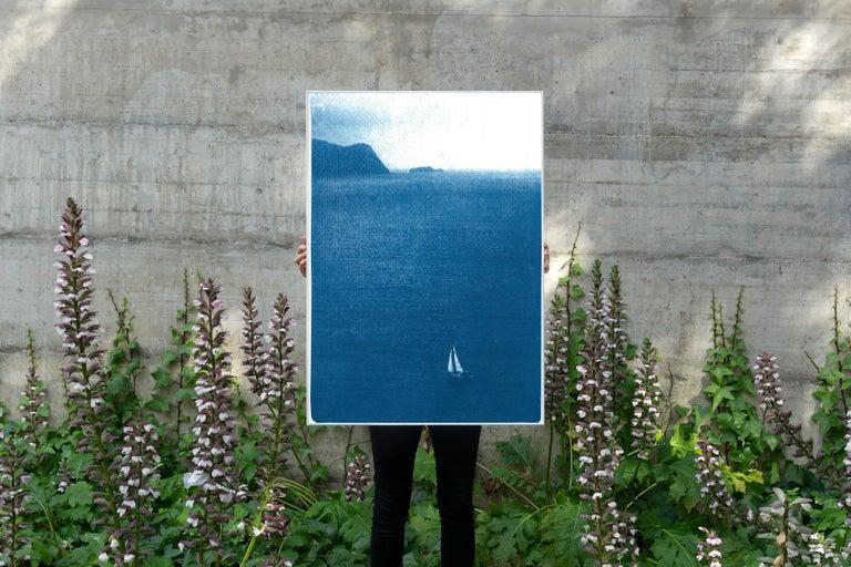 Sailboat Journey, Nautical Cyanotype Print on Watercolor Paper, Indigo Seascape 5