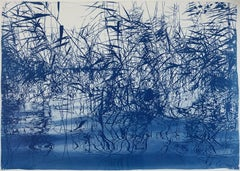 Mystic Louisiana Marsh, Cyanotype on Watercolor Paper, 100x70cm, Blue Landscape