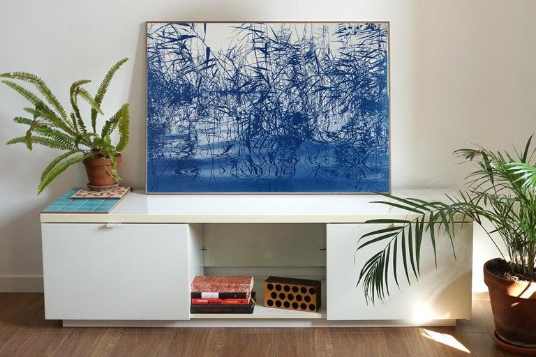 Mystic Louisiana Marsh, Cyanotype on Watercolor Paper, 100x70cm, Blue Landscape  - Print by Kind of Cyan