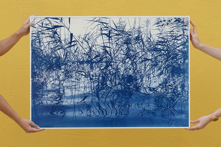 Mystic Louisiana Marsh, Cyanotype on Watercolor Paper, 100x70cm, Blue Landscape  - Contemporary Print by Kind of Cyan