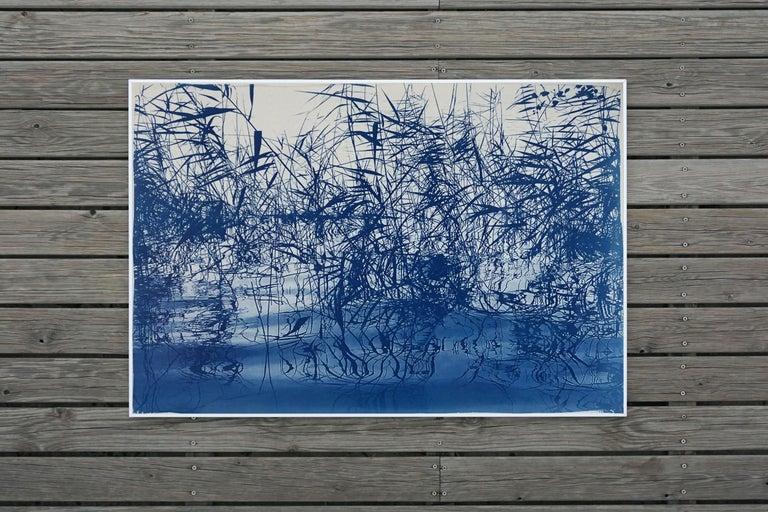 Mystic Louisiana Marsh, Cyanotype on Watercolor Paper, 100x70cm, Blue Landscape  For Sale 3