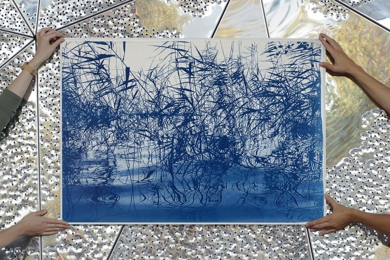Mystic Louisiana Marsh, Cyanotype on Watercolor Paper, 100x70cm, Blue Landscape  For Sale 4