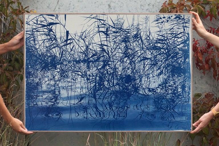 Mystic Louisiana Marsh, Cyanotype on Watercolor Paper, 100x70cm, Blue Landscape  For Sale 5