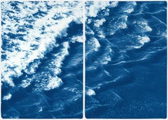 Rolling Waves off Sidney, Seascape Diptych Cyanotype, Australian Coast, Indigo
