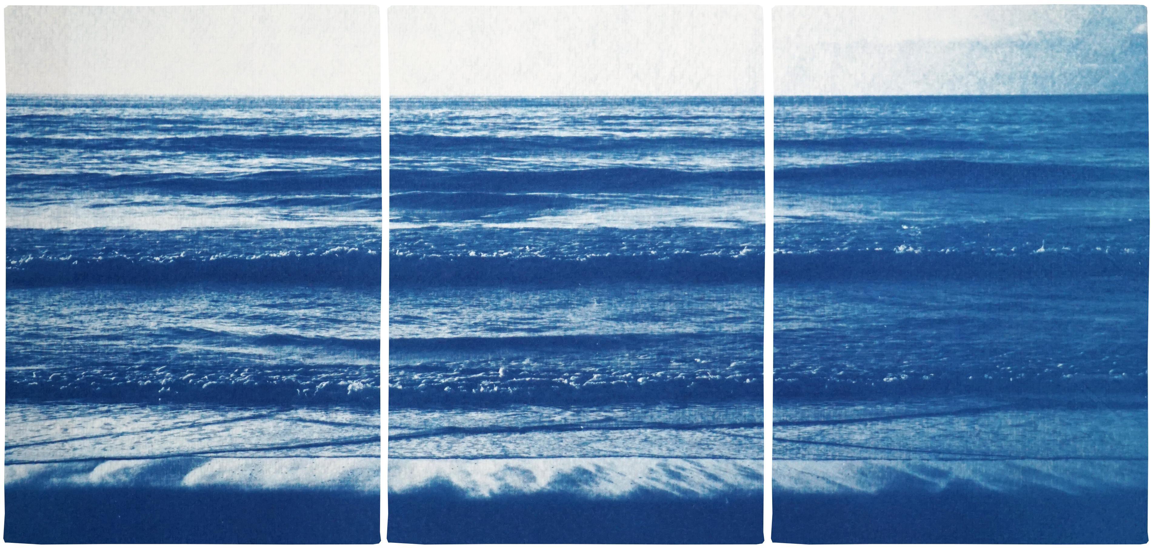 Pacific Beach Horizon, Nautical Triptych Cyanotype, White and Blue Seascape, Zen