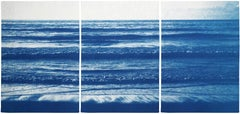 Pacific Beach Horizon, Nautical Triptych Cyanotype, White and Blue Seascape, Zen