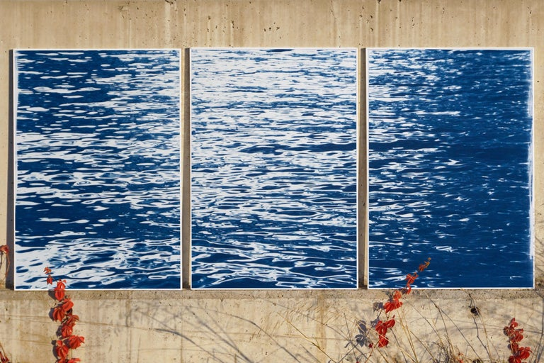 Moonlight Ripples over Lake Como, Nautical Cyanotype Triptych of Moving Water - Print by Kind of Cyan