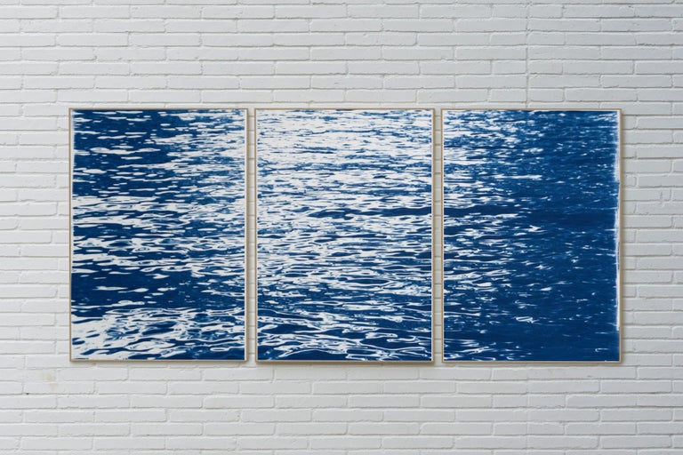 Moonlight Ripples over Lake Como, Nautical Cyanotype Triptych of Moving Water - Contemporary Print by Kind of Cyan