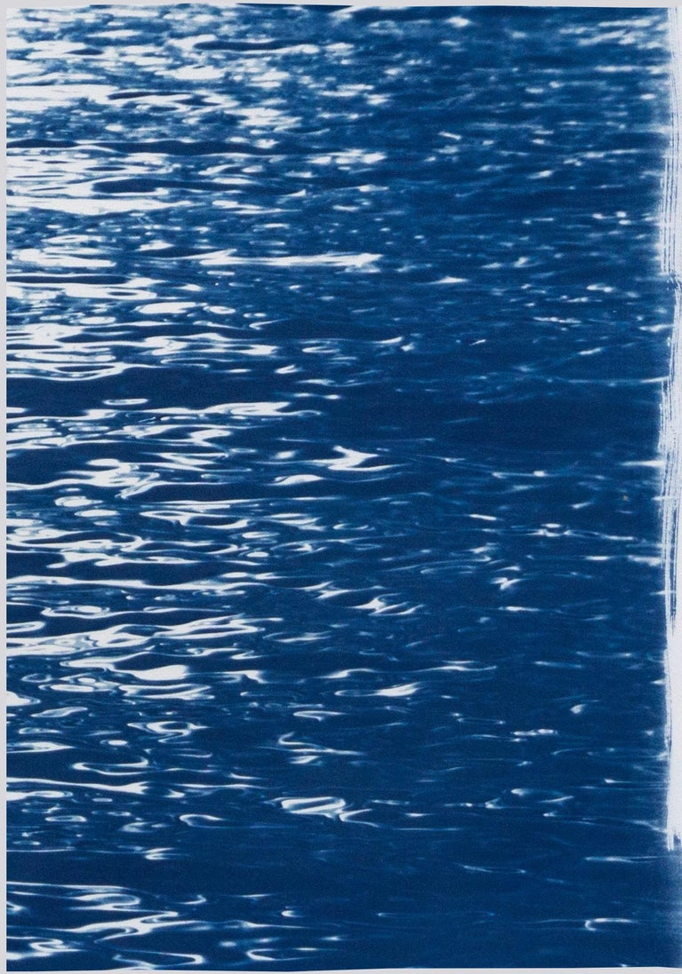Moonlight Ripples over Lake Como, Nautical Cyanotype Triptych of Moving Water 1