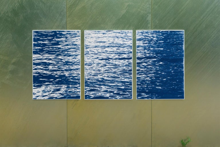 Moonlight Ripples over Lake Como, Nautical Cyanotype Triptych of Moving Water 2