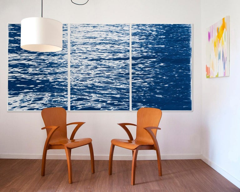Moonlight Ripples over Lake Como, Nautical Cyanotype Triptych of Moving Water 3